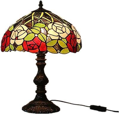 Lampe de bureau en verre teinté style méditerranéen lampe de bureau Rétro Veilleuse classique Chambre chevet lampe Salon Décoration Lampe Idées cadeaux (Couleur : E)