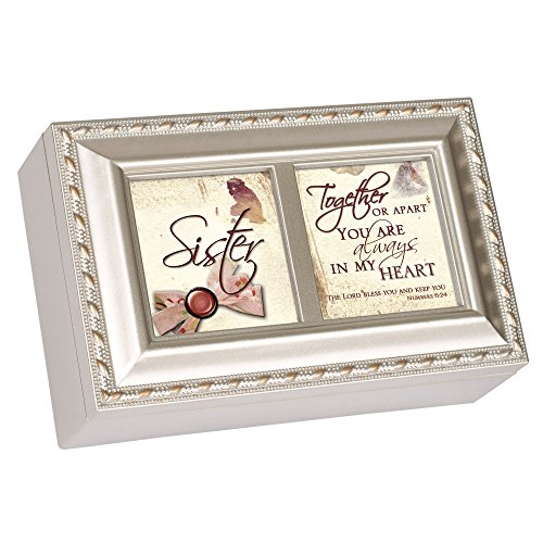Cottage Garden Sister Champagne Silver Inspirational Petite Music Box Plays Amazing Grace