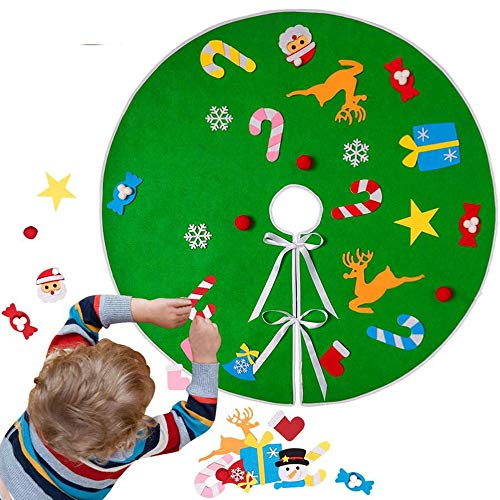 JCT Tree Skirt For Toddlers DIY 3D Christmas Tree Skirt Kit Felt Tree Skirt Green 35in/89cm Tree Skirty With 26pcs Detachable Ornaments Xmas Decorations Gift For Kids (Diy Green, 35in)