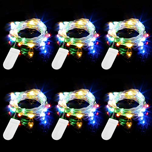 TenSteed Fairy Lights, 6 Pack 20 LEDs 7.2 Ft Copper Wire String Lights,Super Bright Warm White Led Rope Lights Copper Wire for DIY Wedding Home Bedroom Parties(Multi-Colored)