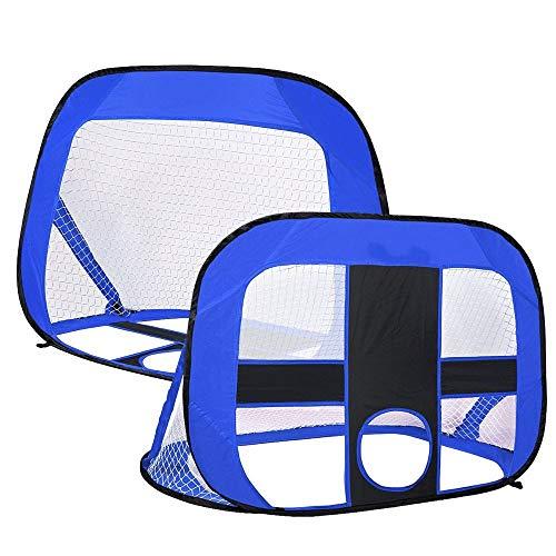 Łatwy do Przenoszenia Pop Up Football Cele Składane i przenośne Soccer Bramka Dzieci Outdoor Garden Toy Praktyczny cel Piłkarski (Color : Blue, Size : 120x85x85cm)