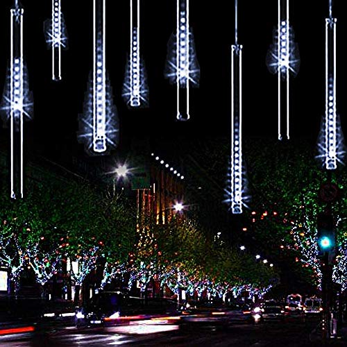 Meteor Shower Christmas Icicle Lights Outdoor, 11.8 inch 10 Tubes 240LED Snowfall Lights Connectable, Waterproof Hanging Rain Drop Lights for Tree Bushes Holiday Party Christmas Decoration(White)