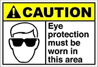 Eye Protection Must Be Worn Area Caution ティンサイン ポスター ン サイン プレート ブリキ看板 ホーム バーために