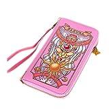 SUTUO Sakura Wallet, Anime cardcaptor Kinomoto Sakura Cosplay Card Case with Drawstring (Pink)