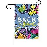 fingww Fahne Hallo Willkommen Zurück In Der Schule Yard Banner House Flag Print Home Außerhalb Blumentopf Dekorative 32X48Cm Garten Flagge Double Side Yard Flag