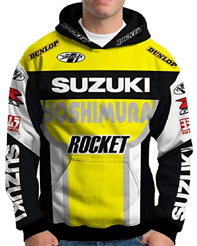 Blusa Moleton Masculina Estampa Total Frente e Costas Esportes (Suzuki Amarela, P)
