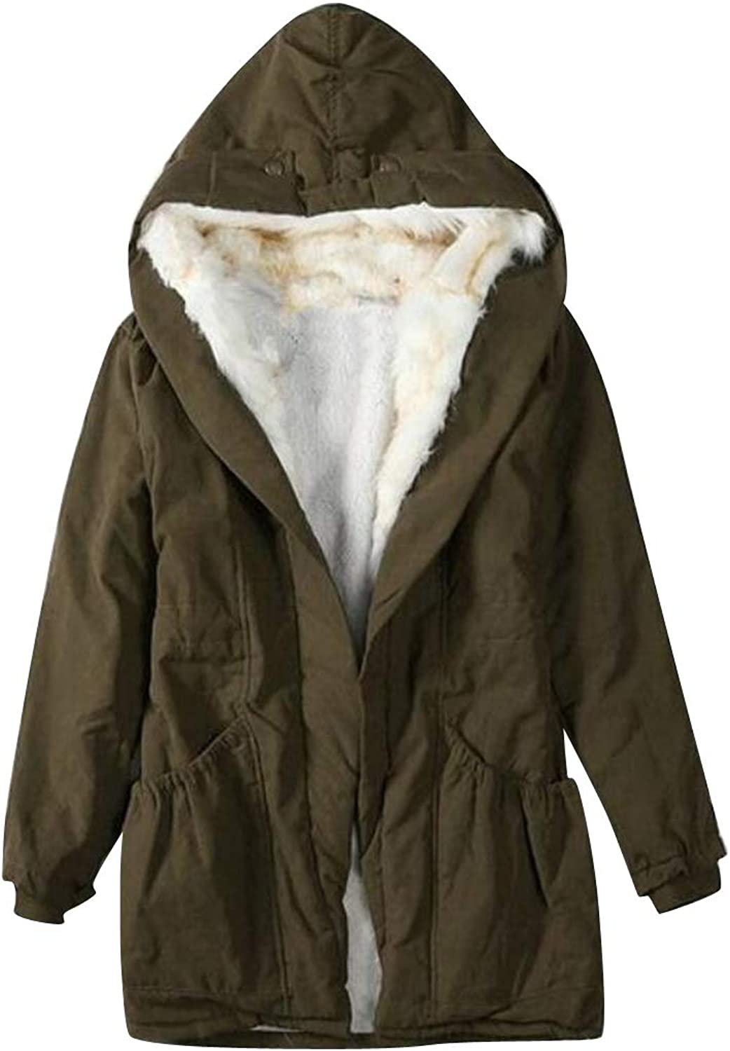 YYG Womens Mid Length Winter Loose Faux Fur Hoodie Thermal Quilted Jacket Parka Coat Overcoat