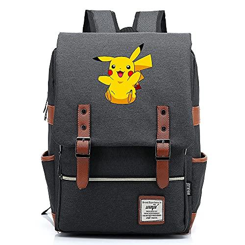 ANCHANG Anime Pikachu Mochila Unisex Business Laptop Mochila College Student School Bag Mochila de viaje Mochila M-14inch Color-05