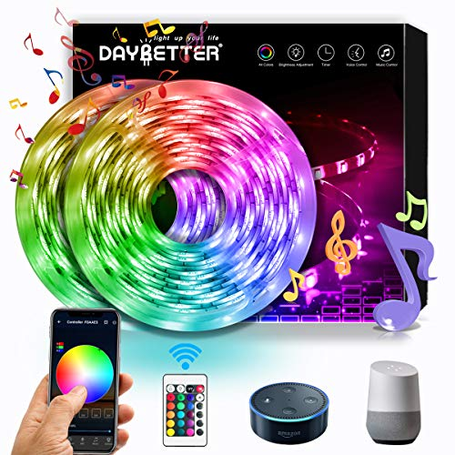 DAYBETTER LED Strip Lights, Smart LED Lights 32.8ft Color Changing by Phone APP Controlled, Work with Alexa, Google Assistant, WiFi Light Strips Waterproof 5050 RGB 300 LEDs Sync to Music for Bedroom