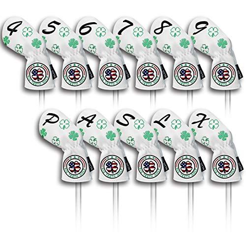 Big Teeth(ビッグティース) ゴルフアイアンカバー ヘッドカバー セット 11枚入り(4〜9、P、A、S、L、X)番号刺繍 ロングネック エラスティック開閉 クローバー刺繍 合成レザー ホワイト
