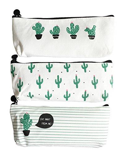 iToolai Canvas Pen Pencil Case Bag Zipper Travel Pouch for Girls Student(Cactus, Set of 3)