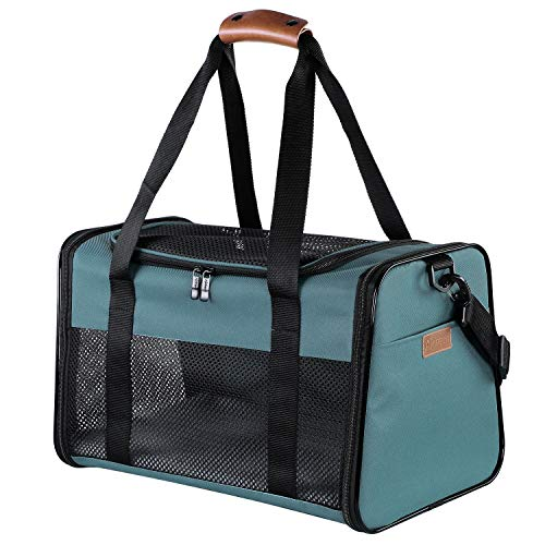 Akinerri Airline Approved Pet Carriers,Soft Sided Collapsible Pet Travel Carrier for Medium Puppy and Cats (Medium, Blue)