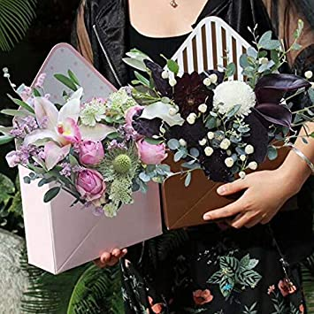 YanYun 12 Pezzi Busta Pieghevole Scatola di Fiori di Carta Confezioni Regalo di Nozze per Feste Floreali-Nere