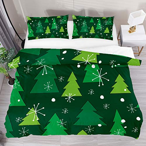 Christmas Tree Green 3 Piece Duvet Cover Set Twin Size 55'x79' Soft Quilt Cover Decorative Bedding Sets 1 Duvet Cover 2 Pillowcase Polyester Bedspread