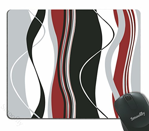 Smooffly Mouse pad Wavy Vertical Stripes Red Black White and Grey Personality Desings Gaming Mouse Pad