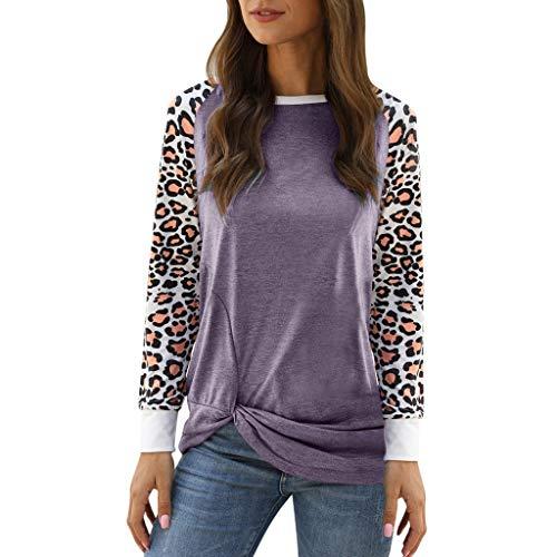 Snakell T-Shirt Pull Femme Léopard à Manches Longues Camouflage Tops Hauts Pullover Col Rond Imprimé Tunique Blouse Mode Patchwork en Vrac Sweatshirt Chemise Tunique Hauts