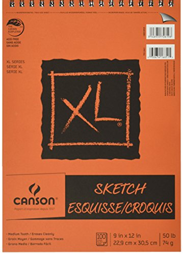 Canson XL 9 x 12 Inches Sketch Sheet Pad, Top Wire Binding (C702-2441)