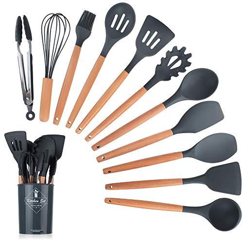 WPC Brands Utensilios de cocina 6/12 piezas de utensilios de cocina Juego de utensilios de cocina Utensilios de cocina Utensilios de cocina Nostalgia utensilios de cocina (color gris oscuro)