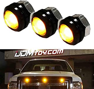 iJDMTOY 3pc Raptor Style Amber Yellow LED Bolt-On Mount Grille Marker Light Kit, Universal Fit Truck or SUV Front Grill, P...