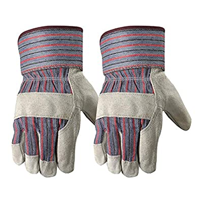 2 Pair Pack Genuine Leather Work Gloves with Heavy Duty Reinforced Palms, Large (Wells Lamont 4006N-WNW)