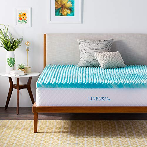Linenspa 3 Inch Convoluted Gel Swirl Memory Foam Mattress Topper - Promotes Airflow - Relieves Pressure Points - Queen, LS30QQ30CSGT