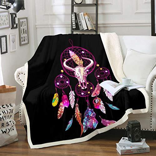 Manta bohemia de sherpa con diseño de calavera, manta de forro polar para niños y niñas, manta de felpa de plumas de colores indios, manta tribal difusa para sofá cama, individual 128 x 152 cm