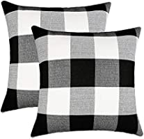 4TH Emotion Set of 2 Farmhouse Buffalo Check Plaid Throw Pillow Covers Cushion Case Cotton Linen for Fall Home Decor...
