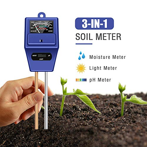 Lowest Price! JeahoreKy Soil pH Meter, 3-in-1 Soil Test Kits with Moisture,Light and PH Tester for P...
