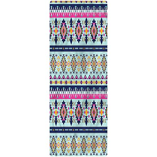 Aztec Indoor/Outdoor Runner Rug, 2'x4', Abstract Shapes Latin Culture Kitchen Rugs Non Skid Area Floor Mat for Hallway Entry Way Floor Carpet
