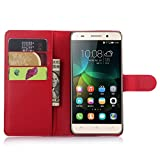 Ycloud Tasche für Huawei G Play Mini (Honor 4C) Hülle, PU Ledertasche Flip Cover Wallet Case Handyhülle mit Stand Function Credit Card Slots Bookstyle Purse Design rote