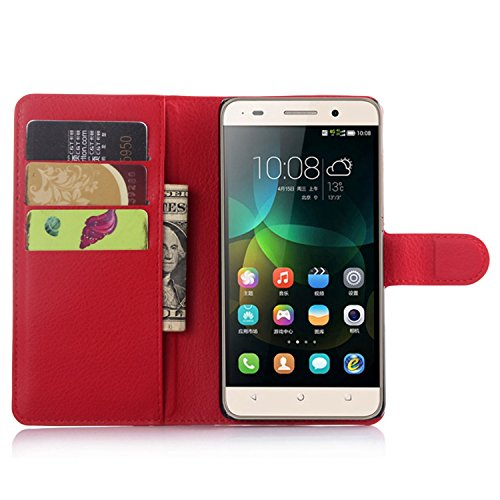 Ycloud Tasche für Huawei G Play Mini (Honor 4C) Hülle, PU Ledertasche Flip Cover Wallet Hülle Handyhülle mit Stand Function Credit Card Slots Bookstyle Purse Design rote