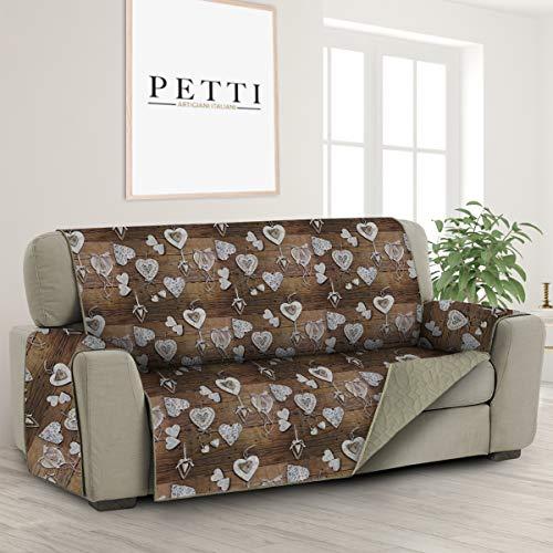 PETTI Artigiani Italiani- Funda de Sofa, Reversible Protector para Sofa, Cubre para Sofa de Microfibra, 100% Made in Italy