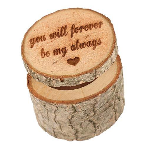 Floridivy Vorschlag Ehering Box Holz-Verlobungsring-Halter Holz-Ring-Kasten, Holz-Verpflichtungs-Halskette Schmuck Kasten
