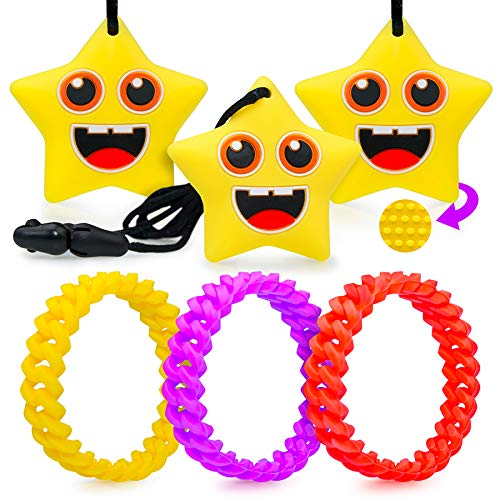 Chew Necklace Sensory Kids Set - 6 Pcs Silicone Chewable Necklaces Therapeutic Toys for Kids Toddler Children Boys Girls Chewing Teething Autism ADHD Biting Oral Motor Aids 3 Colored Bracelets Mums