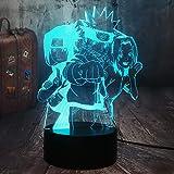 KangYD veilleuse 3D/Naruto 3D Optical Illusion Night Light 7 Couleur Lampe de bureau Cadeau Sasuke...