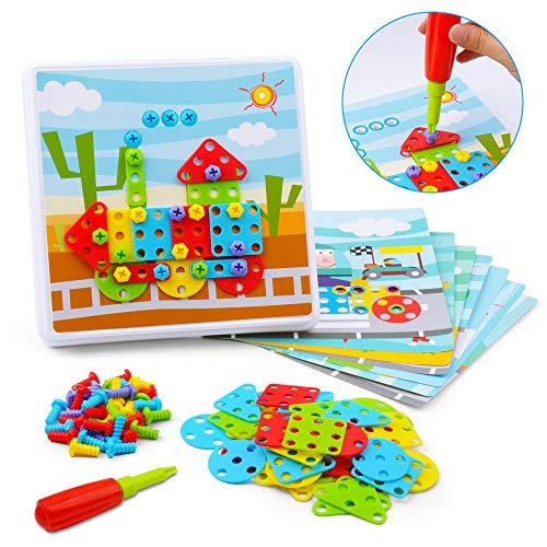 GizmoVine Shape Puzzles Spielzeug für Kleinkinder, Kreatives Puzzle Lernspielzeug Tool Kit Bausteine Feinmotorisches Aktivitätszentrum für 2 3 4 5 6 Kinder
