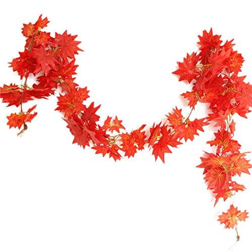 Jing Ger Windowill Autumn Leaves Garland Maple Leaf Vine Fake Foliage Decoration 2.4m 1ft Home Garden (Color : Orange)