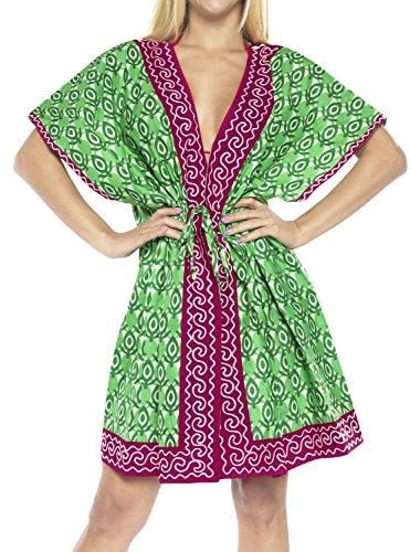 LA LEELA Mujeres Superiores caftán túnica Bordada Medio la Manga la Chaqueta la Rebeca la Camisa Kimono Vestido la Blusa Ocasional Boho Traje baño 100% algodón caftán Playa para Cubrir la Piel gr