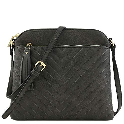 Chevron Quilted Medium Crossbody Bag with Tassel Accent (Dark Grey)