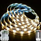 Ezzfairy Battery Powered LED Strips Lights 3M 90 LED, 8 Modes, Timer, Dimmable, Seft-Adhesive, Cuttable, Waterproof Warm White Strips LED Lights for Bedroom TV Kitchen Cupboard Stairs Mirror Desk