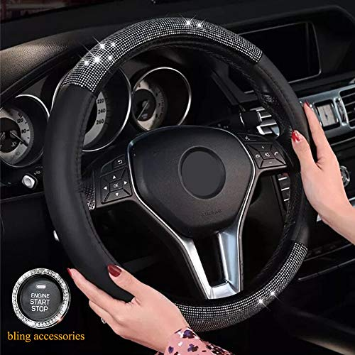 ALVAZA Microfiber Leather Steering Wheel Cover with Crystal Bling Bling Rhinestones Car Diamond Anti-Slip Breathable Steering Cover for Vehicles 15 Inch Universal + Bling Ring