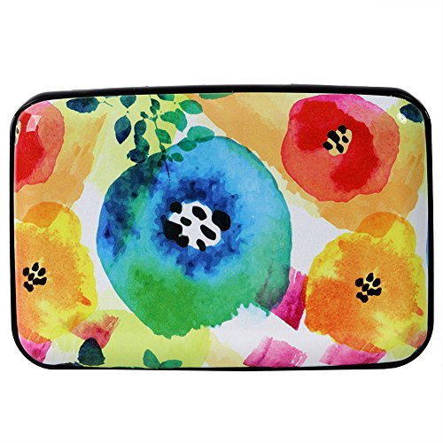 Aluminum Wallet RFID Blocking Slim Metal Credit Card Holder Hard Case (Abstract Watercolor Flowers)