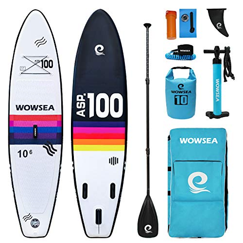 WOWSEA Exploring Stand Up Paddle Hinchable | 325cm L x 80cm W x 15cm H | Duraderas y Estables Caza Tablas De Paddle Surf | Pesca Tablas De Paddle | Arco Iris