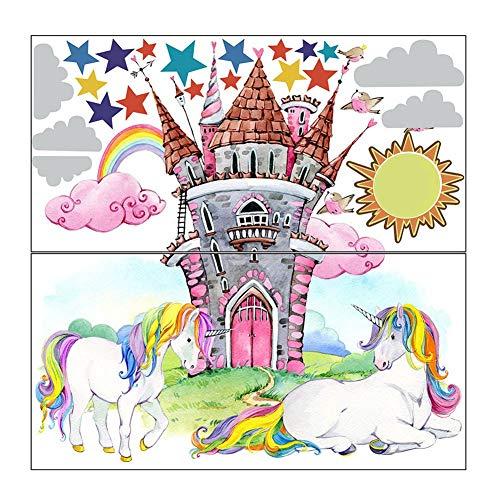 Chutoral Cartoon Fairy Tale Wereld Kasteel Muurstickers Mooie Prinses Eenhoorn Draak Wolken Kids Kamer Decor Meisje Slaapkamer Muurstickers Gift voor Jongen en Meisje
