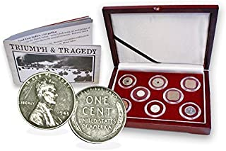 1945 WW II Pacific Theater 8 Coin Presentation Box Set, Certificate and Story Card. Fine