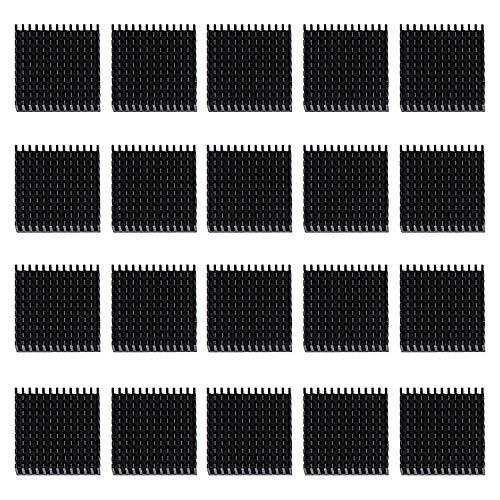 HSEAMALL 20 Unidades 40 mm disipador de Calor, 40 mm x 40 mm x 11 mm Aluminio disipador de Calor Aleta de refrigeración Negro Negro