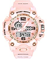 Women's Digital Sports Watch, Dual-Display Waterproof Wrist Watch with Alarm and Stopwatch (Pink)