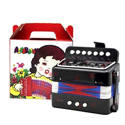 1 Pieza Mini acordeón para niños, 7 Teclas, Instrumento Educativo de música para Practicar para niños (Negro)