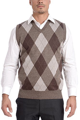 TR Fashion Men's Soft Stretch Argyle V-Neck Casual Pullover Vest (Brown, Large)