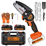 Upgraded Mini Chainsaw Cordless with 2 Replacement Chains, 4-Inch Cordless Mini Chainsaw Battery Powered with 2Pcs Batteries, Handheld Small Mini Electric Chainsaw for Garden Tree Branch Wood Cutting